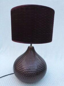 MODERN RETRO DIMPLED PURPLE CERAMIC TABLE LAMP & SHADE.