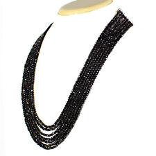 GENUINE RARE 220.20 CTS NATURAL 5 STRAND RICH BLACK SPINEL ROUND BEADS NECKLACE