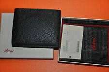 Authentic New Brioni Black Grained Leather Bi-Fold Wallets with Credit Card Case