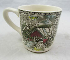 Vtg Johnson Brothers Bridge In Snowy Woods Coffee Tea Mug Cup Made In England