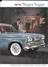 Singer VOGUE 1600 cm3 berline voiture brochure début des années 60