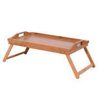 US Portable Home Use Bamboo Wood Bed Tray Breakfast Laptop Desk Tea Food  Table