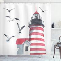 Lighthouse and Seagulls on the Beach Seascape Theme Print Shower Curtain Set