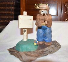 VTG? Plastic resin? and wood Smokey The Bear statue with hammer and sign