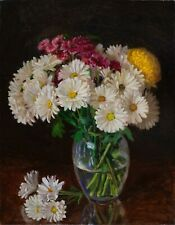 "Original oil painting still life realism daisy flower flora 18x14""  Youqing Wang"