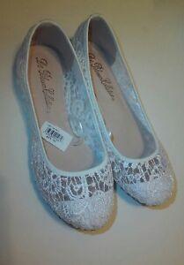 """""""De Blossom Collection ® """"Women's Dress Pump Wedding shoes   (White Lace)[Sz.7]"""