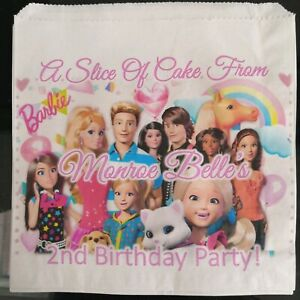 Personalised Barbie White Cake / Party Bags