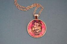 SUGAR FLOWER SKULLS  Cabochon PENDANT -  NECKLACE  New!  Jewelry  USA SELLER!!!