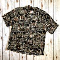 Hilo Hattie Brown Fish Print Hawaiian Shirt Button Up Short Sleeves Men's XL