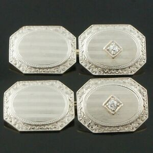 1920s Art Deco Solid 14K Gold & Platinum OMC Diamond Estate Chain Link Cufflinks
