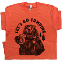 Let's Go Camping T Shirt Funny Bear Cool Saying Yellowstone Yosemite Men Women