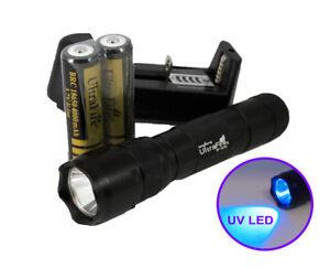 Rechargeable UltraViolet Blacklight UV LED Flashlight with Battery Kit