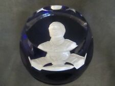 G1  Baccarat Franklin Mint Sulfide Paperweight Cobalt John Paul Jones