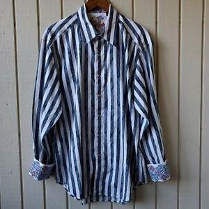 Robert Graham Men's Striped Long Sleeve Flip Cuff Shirt Size XL
