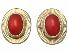 Vintage Coral and 18k Yellow Gold Stud Earrings - Circa 1990