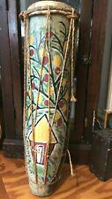 VINTAGE INDIGENOUS FOLK ART PAINTED CARVED VOODOO DRUM HAITI 50s/60s