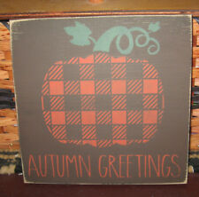 PRIMITIVE COUNTRY ~AUTUMN GREETINGS~ SM SQ SIGN PLAID~FALL ~ HARVEST