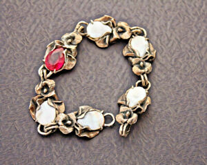 Bracelet Sterling Silver Red Topaz Natural Mother of Pearl 650$ Very unique Chic