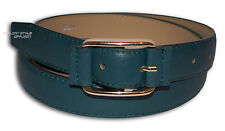 BELT ECO-LEATHER WOMAN SOLID COLOUR SKINNY BUCKLE GOLDEN GREEN PETROL 652