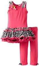 NWT Rare too Zebra TUTU tulle Leggings pink black pants bow shirt girl set 3T