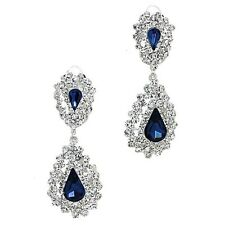 Diamante Clip on Earrings Sparkly Rhinestone Crystal Prom Jewellery 0342 Midnight Blue
