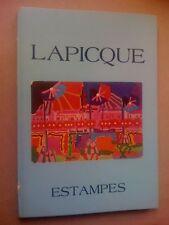 Lapicque Catalogue raisonné Estampes Lithographie