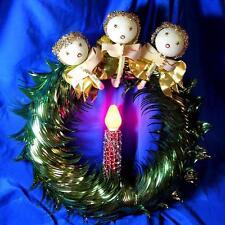 Mid Century Vtg Lighted Foil Xmas Wreath, Embellished W 3 Angels & Foil Mesh