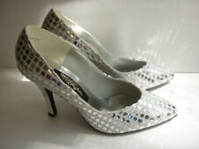 Vtg 1980s Disco Ball Shoes Sliver Spangle Sequin Stilettos Sz 8 Dancing Queen!