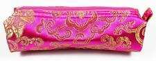TRUCCO Cosmetici Bag Magenta & Oro Ricamato Tessuto, Da Donna Makeup Storage
