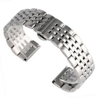 20/22/24mm Silver Stainless Steel Bracelet Men Solid Link Watch Band Wrist Strap