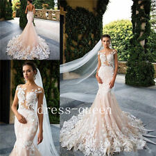 Charming Mermaid Wedding Dresses Floor Length Backless  Applique Bridal Gowns