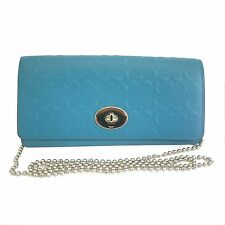 Coach Embossed Slim Envelop Wallet on Chain Purse Cross Body Bag  Teal Blue NWT