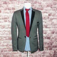 7 For all Mankind Men's Woven Blazer Jacket Ash Gray single Button Sz M NWT