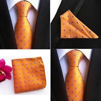 Men Orange Purple Polka Dots Silk Tie Pocket Square Handkerchief Set Lot HZ072