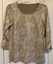 Chico's Zenergy Retreat Gold Foil Dot 3/4 Sleeve Knit Top Size 0 (4/6)