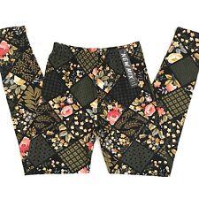 New Mix Womens High Waist Super Soft Buttery Floral Patchwork Leggings OS