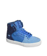 SUPRA Boys VAIDER Blue Gradient-White Hi-Top Skate Shoes Canvas Sneakers - NEW!