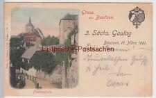 (105298) AK Gruss aus Bautzen, Fischerpforte, 3. Sächsischer Gautag 1901