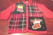 WOMEN'S HEIRLOOM COLLECTIBLES UGLY CHRISTMAS CARDIGAN SWEATER GAUDY SIZE 22/24