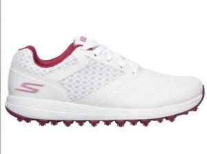 New Skechers Women Max Go Golf LDS UltraFlight Shoes Size 8.5 Wide White/purple