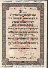 Land Sachsen Schuldverschreibung zu 500 RM aus 1941