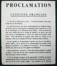 Citoyens Français! Eisenhower Proclamation orig WW II US Army Propaganda Leaflet