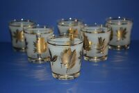 Vintage SET OF 6 Mid Century Barware Starlyte Gold Leaf Pattern Low Ball Glasses