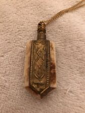 Antique Bone Perfume Bottle With Attached Dabber On Gold Colored Chain With Gold