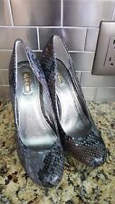Wild Pair Gray Snake Print Silver Platform High Heel Pumps Women's Size 7M