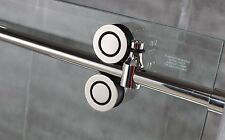 5FT stainless steel satin sliding shower barn door hardware 90° shower room