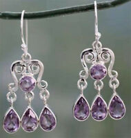 Vintage Women Amethyst Gemstone Engagement Wedding Earrings 925 Silver Jewelry