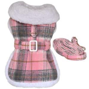 Doggie Design Pink & White Plaid Wool  Dog Coat & Matching Leash XS-2XL