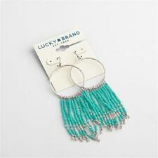 Lucky Brand Turquoise Beaded Fringe Hoop Earrings 3 1/2""