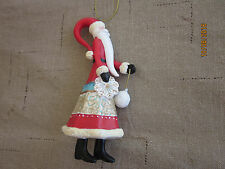 Wooden Santa Ornament with snowflake and small hanging ornament PRETTY!